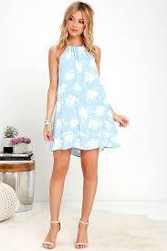 honolua bay light blue floral print halter dress generous