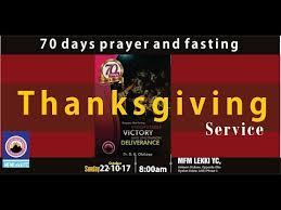 70 days prayer and fasting thanksgiving service october 22nd