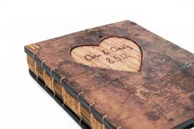 fall wedding guest book made guest book with engraved tree bark cover by three trees