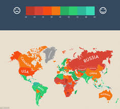 map of world shows where people are living the longest happiest lives
