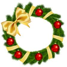 christmas reefs christmas wreath with yellow bow transparent png clip image