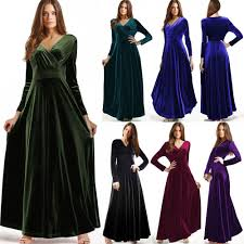 women vintage long sleeve maxi velvet bridesmaid evening cocktail