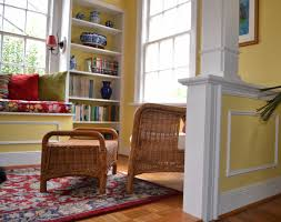 decor half wall room divider and wicker chair with footstool also