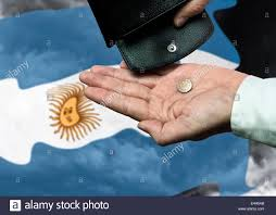 Argentine Flag Hand With Purse And Peso In Front Of The Argentine Flag As A