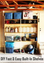 diy fast and easy built in wall garage shelves