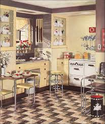 1936 armstrong linoleum flooring ad for a modern yellow kitchen