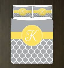 yellow grey and white quatrefoil duvet bedding