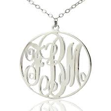 personalized initial necklaces solid white gold vine font circle initial monogram necklace