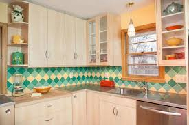 vintage kitchen tile backsplash a colorful midcentury kitchen remodel featuring b w tile in a