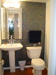 Sparkling Powder Room Design With Cool Mosaic Wall Tiles White - Powder room bathroom