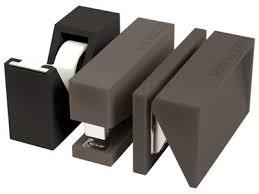 accesoires de bureau accessoire de bureau buro set 3 pièces gris lexon