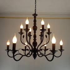 Vintage Antique Chandeliers Luxury Rustic Wrought Iron Chandelier E14 Candle Black Vintage