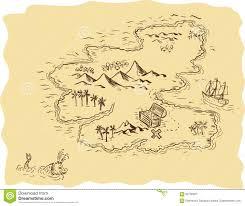 pirate treasure map sailing ship drawing stock illustration