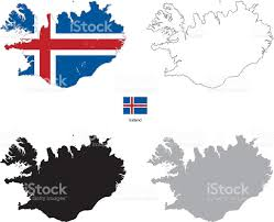 Iceland World Map Iceland Country Black Silhouette And With Flag On Background Stock