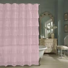 Ruffled Pink Curtains Priscilla Pink Layered Ruffled Lace Shower Curtain Curtains