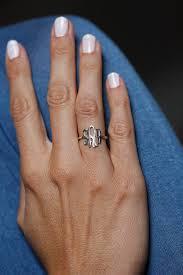 Gold Monogram Ring Silver Monogram Ring Initial Rings Thin Ring Thin Band