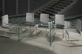 quasar glass italian extension dining table by naos