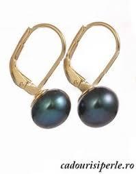 cercei de aur cercei sferik cerceii sunt placati cu aur roz iar perlele de apa