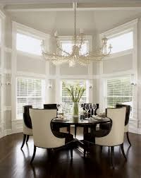 Chic Dining Room Espresso Dining Table With Upholstered Dining Chairs