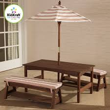 Outdoor Table And Chair Set Amazon Com Kidkraft 00 Outdoor Table And Bench Set With Cushions