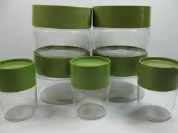vintage pyrex glass canisters set retro kitchen storage avacado