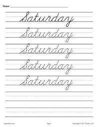 7 free days of the week cursive handwriting worksheets cursive