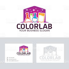 color lab vector logo with business card template stock vector art
