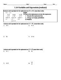holt algebra 1 1a variables and expressions worksheet doc u0026 pdf