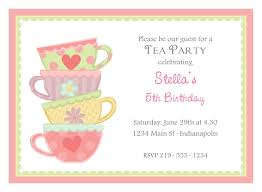 Example Of Invitation Card Tea Party Invitations Dhavalthakur Com