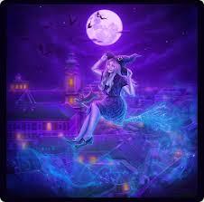 wallpapers cats hat girls fantasy halloween moon night