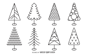 flat christmas tree outlines set vector download