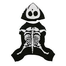 skeleton glow bones dog costume by casual canine black with same