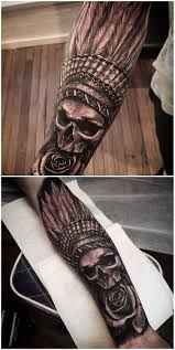 what are skull tattoos and what do they stand for awesome indian skull mens half sleeve tattoo ideas with native