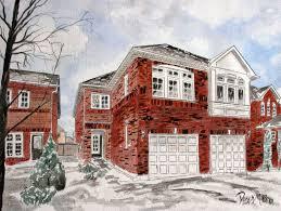 drawing houses watercolor paintings art by derek mccrea house drawing