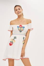 floral embroidered bardot dress by glamorous topshop