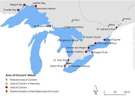 canadian map with great lakes restoring the great lakes areas of concern canada ca