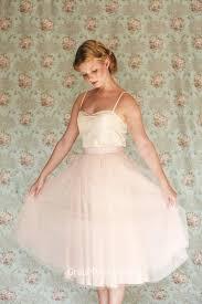 cute blush spaghetti strap tea length tulle bridesmaid dress