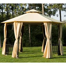 Portable Gazebo Walmart by Outsunny Outdoor Hexagon Gazebo With Insect Screen And Curtains