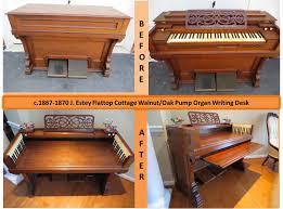 Flat Top Desk C 1867 1870 J Estey Flattop Cottage Organ Walnut Oak Writing Desk