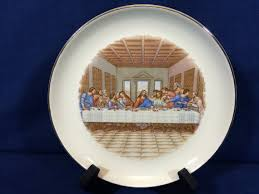 the last supper plates small collector plate the last supper 22 kt gold trim vintage