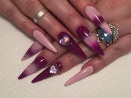 acrylic nails purple long stiletto sculpted nails youtube