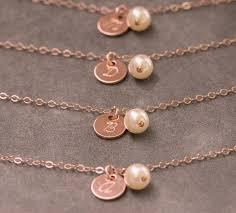 Gold Personalized Bracelets Handstamped Initial Bracelet Rose Gold Pearl Bracelet