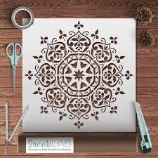 Decorative Wall Stencils Mandala Style Stencil Floral Motive Wall Stencil Original And