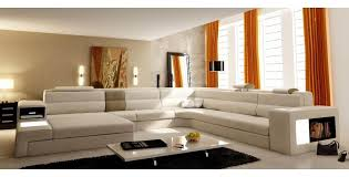 canapé panoramique en cuir deco in canape panoramique en cuir beige angle gauche