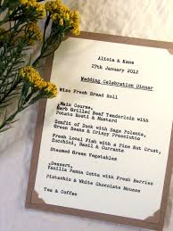 Wedding Invitations With Menu Cards Wedding Menu Card True Typewriter Font Kraft U0026 Ivory Rustic