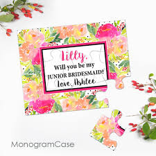 invitation to be a bridesmaid perfectly pretty watercolor flowers asking junior bridesmaid puzzle