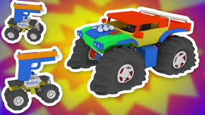 3d Monster Truck Animated Video For Kids With Big Trucks And Cars