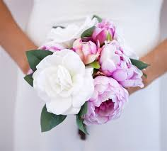 natural touch gardenias and silk lilac peonies bouquet