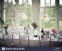 Gallery For Gt Setting The Table For Dinner by Wedding Breakfast Top Table Settings With Flowers And Wine Stock