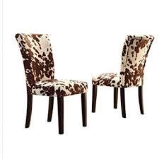 amazon com home portman cow hide parson side chairs set of 2